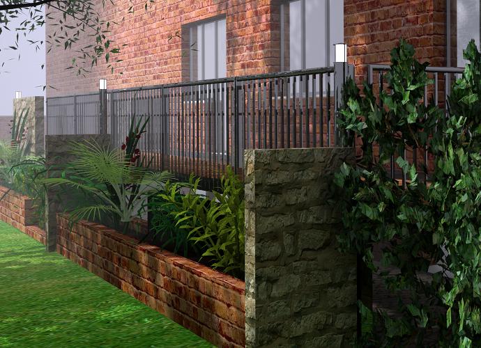Progetto di una pedana per un giardino for Rendering giardino