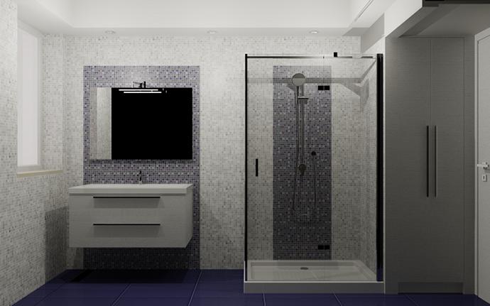 Bagno Con Mosaico Rosa : Progetto